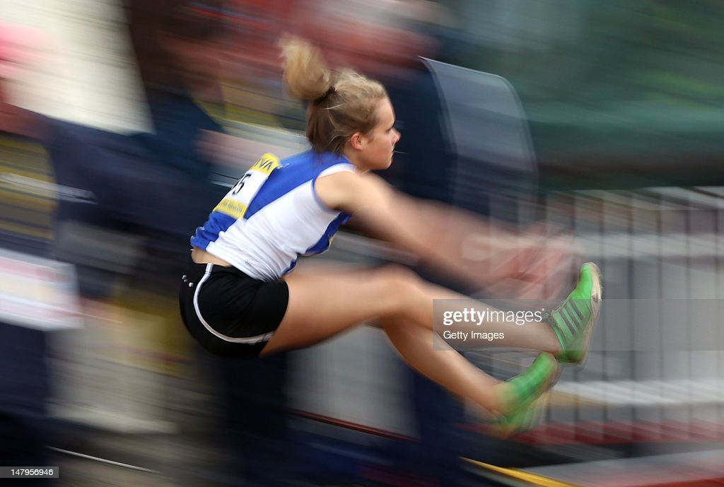 Hannah Walker of West Yorkshire competes in the Inter Girls Long Jump Final during day one of the Aviva English Schools Track and Field Championships at the Gateshead International Stadium on July 6, 2012 in Gateshead, England. Search Aviva Athletics on Facebook to Back The Team.