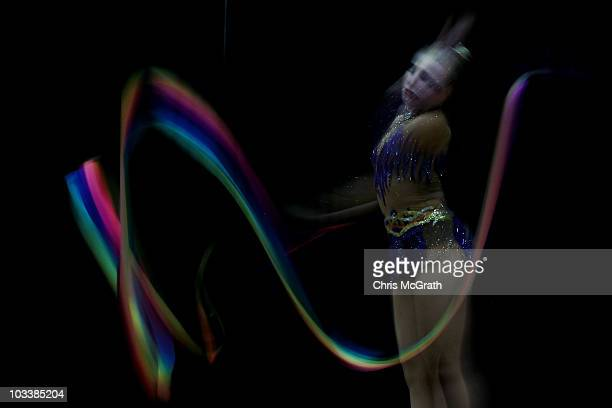 Hannah Walter competes during the Rhythmic AllAround competition on day four of the 2010 Visa Gymnastics Championships at Chase Arena on August 14...