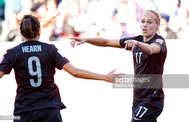 Hannah Wilkinson of New Zealand celebrates scoring their second goal against China PR with Amber Hearn during the FIFA Women's World Cup Canada 2015...