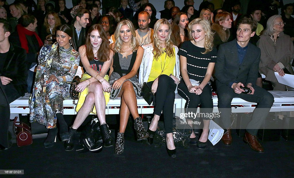 Hannah Yadi, Angela Scanlon, <a gi-track='captionPersonalityLinkClicked' href=/galleries/search?phrase=Mollie+King&family=editorial&specificpeople=5522262 ng-click='$event.stopPropagation()'>Mollie King</a>, <a gi-track='captionPersonalityLinkClicked' href=/galleries/search?phrase=Laura+Whitmore&family=editorial&specificpeople=5599316 ng-click='$event.stopPropagation()'>Laura Whitmore</a>, <a gi-track='captionPersonalityLinkClicked' href=/galleries/search?phrase=Pixie+Lott&family=editorial&specificpeople=5591168 ng-click='$event.stopPropagation()'>Pixie Lott</a> and <a gi-track='captionPersonalityLinkClicked' href=/galleries/search?phrase=Oliver+Cheshire&family=editorial&specificpeople=7407100 ng-click='$event.stopPropagation()'>Oliver Cheshire</a> attend the David Koma show during London Fashion Week Fall/Winter 2013/14 at Somerset House on February 16, 2013 in London, England.