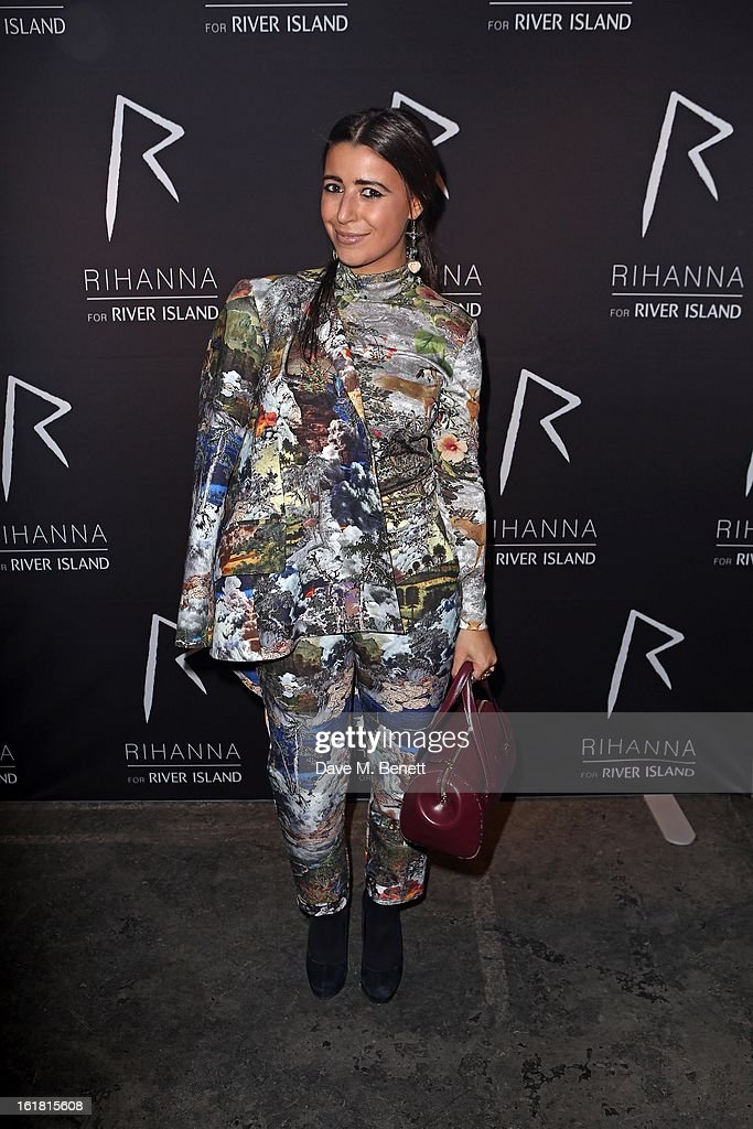 Hannah Yadi arrives for the Rihanna for River Island fashion show during London Fashion Week Fall/Winter 2013/2014 at the Old Sorting Office on February 16, 2013 in London, England.