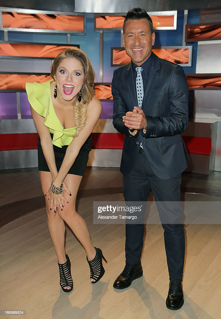Hannaley and Jorge Bernal are seen on the set of the new Telemundo show 'Suelta La Sopa' on October 22, 2013 in Miami, Florida.