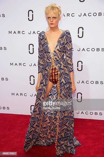 Hanne Gaby Odiele poses on the red carpet during the Marc Jacobs Runway Spring 2016 New York Fashion Week The Shows at Ziegfeld Theater on September...