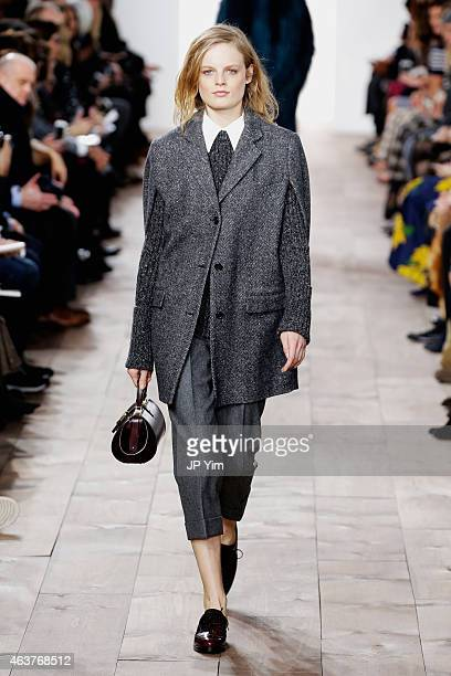 Hanne Gaby Odiele walks the runway at the Michael Kors fashion show during MercedesBenz Fashion Week Fall at Spring Studios on February 18 2015 in...