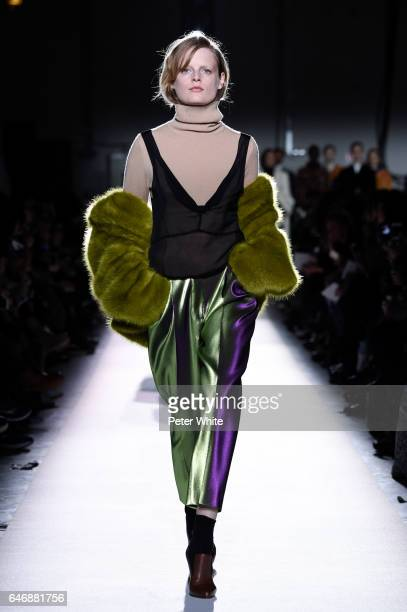 Hanne Gaby Odiele walks the runway during the Dries Van Noten show as part of the Paris Fashion Week Womenswear Fall/Winter 2017/2018 on March 1 2017...