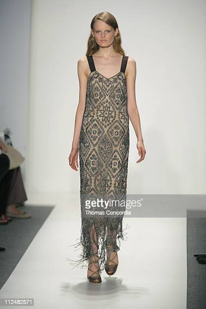 Hanne Gaby Odiele wearing Reem Acra Spring 2007 during Olympus Fashion Week Spring 2007 Reem Acra Runway at The Atelier Bryant Park in New York City...