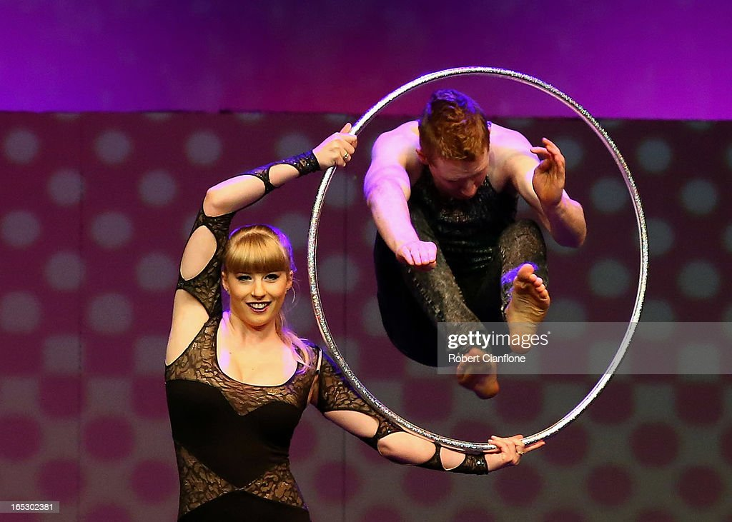 Hanne Grant performs with Hula Hoops during a National Institute of Circus Arts photo call for 'Leap of Faith: Circus in Motion' at NICA on April 3, 2013 in Melbourne, Australia.
