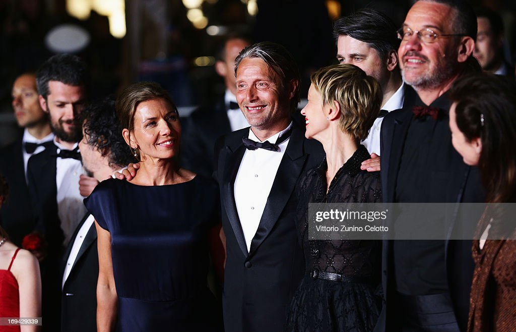 Hanne Jacobsen, <a gi-track='captionPersonalityLinkClicked' href=/galleries/search?phrase=Mads+Mikkelsen&family=editorial&specificpeople=3003791 ng-click='$event.stopPropagation()'>Mads Mikkelsen</a>, Delphine Chuillot and Arnaud des Pallieres attend the 'Michael Kohlhaas' premiere during The 66th Annual Cannes Film Festival at the Palais des Festival on May 24, 2013 in Cannes, France.