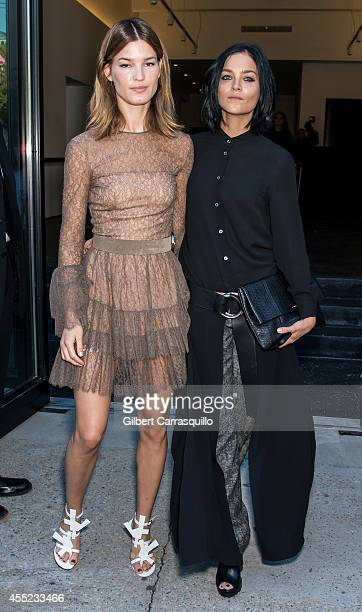 Hanneli Mustaparta and Leigh Lezark are seen at the Michael Kors fashion show during MercedesBenz Fashion Week Spring 2015 at Spring Studios on...