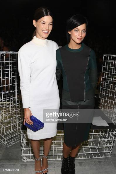 Hanneli Mustaparta and Leigh Lezark attend the Lacoste fashion show during MercedesBenz Fashion Week Spring 2014 at The Theatre at Lincoln Center on...