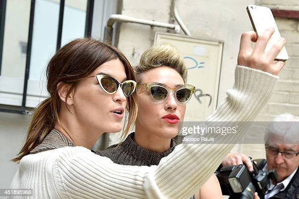 Hanneli Mustaparta and Mia Moretti arrive to attend the Maison Martin Margiela show as part of Paris Fashion Week Haute Couture Fall/Winter 20142015...