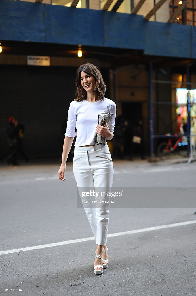 Hanneli Mustaparta attends the Calvin Klein show wearing a Calvin Klein pants on February 14, 2013 in New York City.