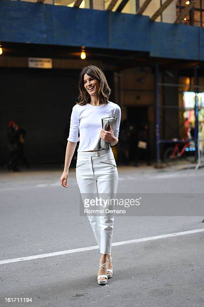 Hanneli Mustaparta attends the Calvin Klein show wearing a Calvin Klein pants on February 14 2013 in New York City