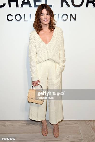 Hanneli Mustaparta poses backstage at the Michael Kors Fall 2016 Runway Show during New York Fashion Week The Shows at Spring Studios on February 17...
