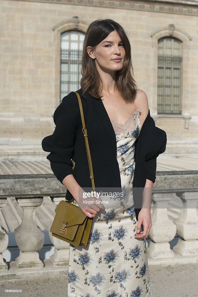 Hanneli Mustaparta wearing Louis Vuitton with a Calvin Klein cardigan on day 9 of Paris Fashion Week Spring/Summer 2014, Paris October 02, 2013 in Paris, France.