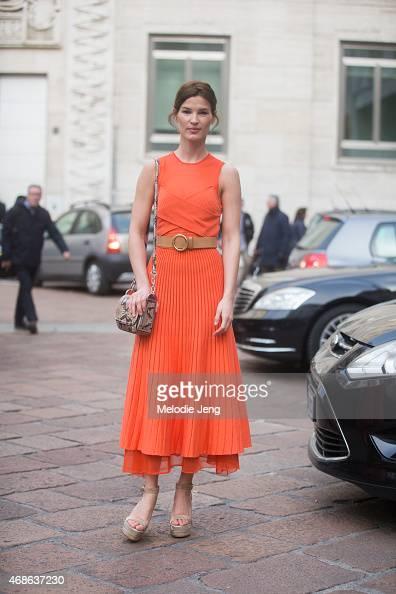 Hanneli Mustaparta wears a Ferragamo outfit on Day 5 of Milan Fashion Week FW15 on March 1 2015 in Milan Italy