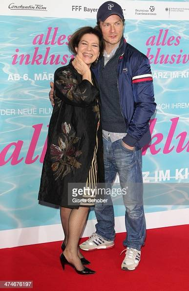 Hannelore Elsner and Hinnerk Schoenemann attend the German premiere of the film 'Alles Inklusive' at Mathaeser Filmpalast on February 24 2014 in...