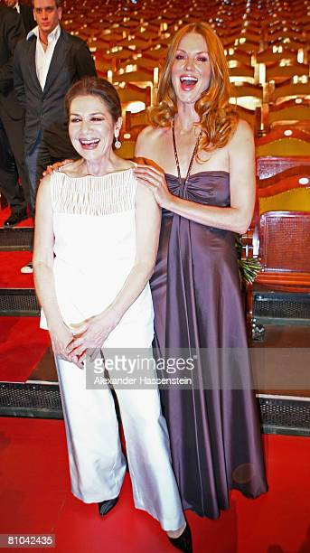 Hannelore Elsner is seen with Esther Schweins after the Bavarian Television Award 2008 at the Prinzregenten Theatre on 9 May 2009 in Munich Germany