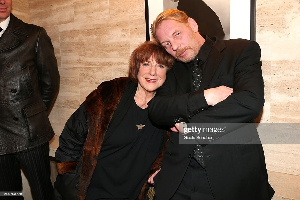 Hannelore Hoger and <a gi-track='captionPersonalityLinkClicked' href=/galleries/search?phrase=Ben+Becker&family=editorial&specificpeople=622206 ng-click='$event.stopPropagation()'>Ben Becker</a> during the 'Berlin Opening Night of GALA & UFA Fiction' at Das Stue Hotel on February 11, 2016 in Berlin, Germany.