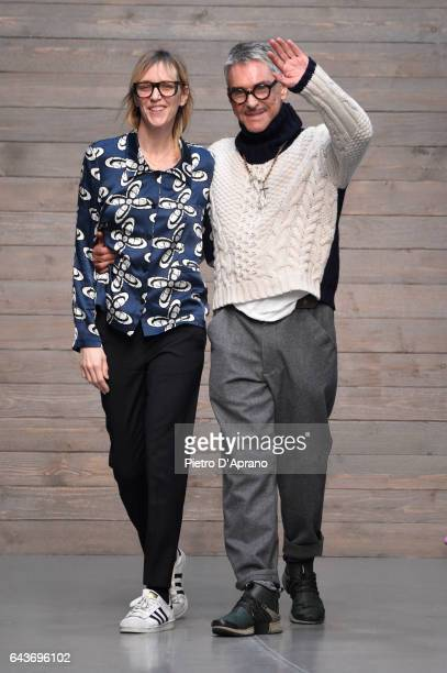 Hannelore Knuts and Fashion designer Wolfgang Joop acknowledges the applause of the audience at the Wunderkind show during Milan Fashion Week...