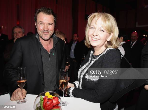 Hannelore Kraft Govenor of the German state of North RhineWestphalia and Sebastian Koch attend the NRW Reception during day four of the 61st Berlin...