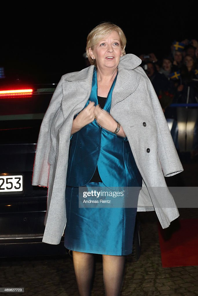 Hannelore Kraft, Governor of North Rhine-Westphalia arrives for a dinner with Crown Princess Victoria of Sweden at Castle of Eller on January 28, 2014 in Dusseldorf, Germany.