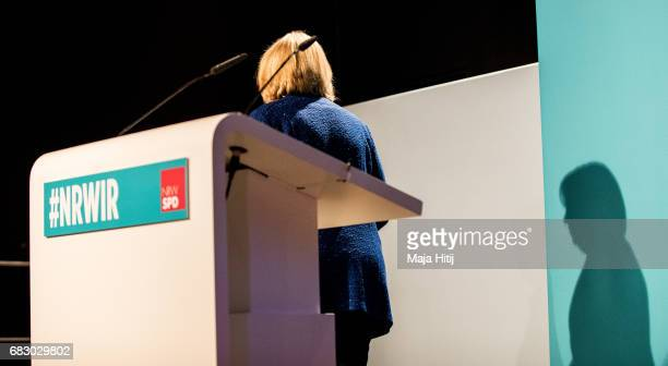 Hannelore Kraft lead candidate of the German Social Democrats leaves the stadium after she speaks to supporters after the CDU won the North...