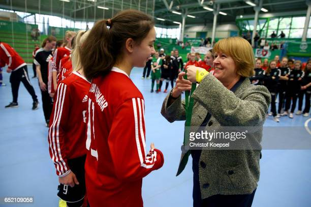 Hannelore Ratzeburg DFB vice president honours the second place team of SC Bad Neuenahr after the C Junior Girl's German Futsal Championship at Bayer...