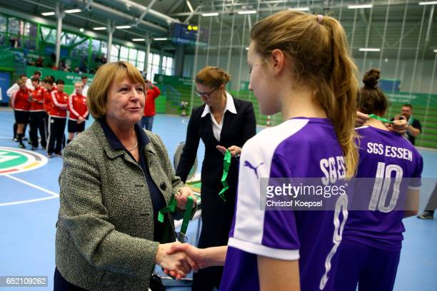 Hannelore Ratzeburg DFB vice president honours the third place team of of SGS Essen after the C Junior Girl's German Futsal Championship at Bayer...