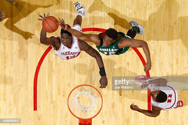 Hanner MosqueraPerea of the Indiana Hoosiers rebounds against Dwain Whitfield of the Mississippi Valley State Delta Devils during the game at...