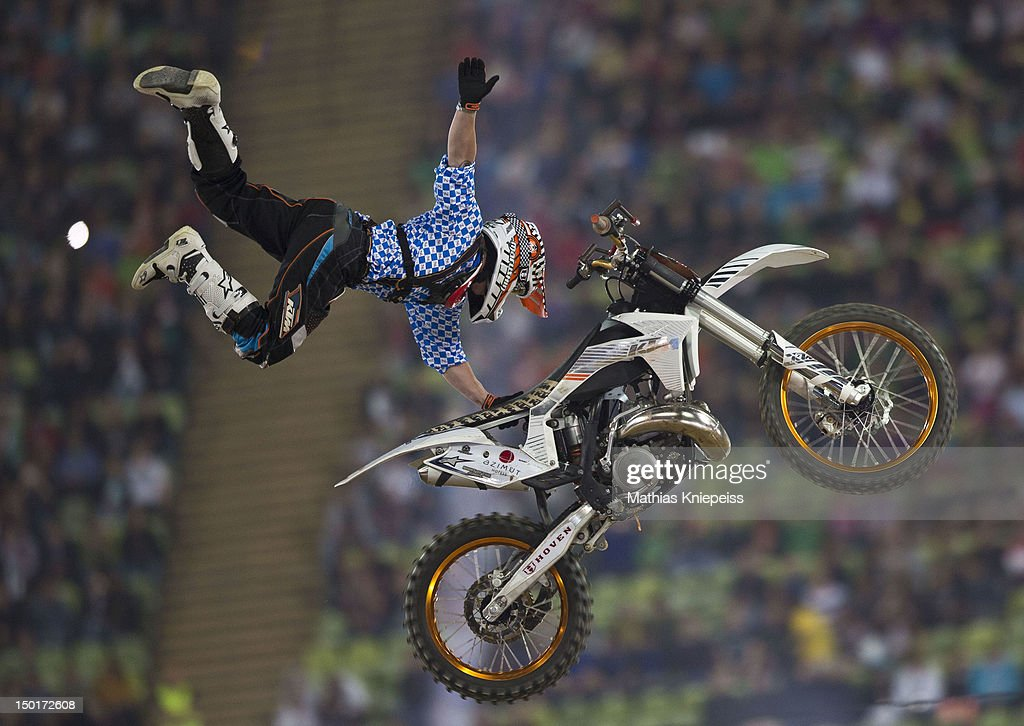 Hannes Ackermann of Germany in action during the Red Bull X-Fighters World Tour at Olympia stadium on August 11, 2012 in Munich, Germany.
