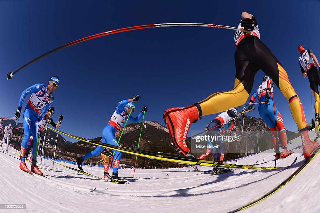 Hannes Dotzler of Germany in action during the Men's 50Km Cross Country Mass Start at the FIS Nordic World Ski Championships on March 3, 2013 in Val di Fiemme, Italy.