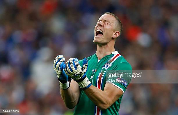 Hannes Halldorsson of Iceland shows his dejection after France's second goal during the UEFA EURO 2016 quarter final match between France and Iceland...