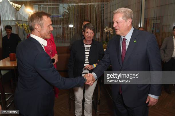 Hannes Jaenicke and Former Vice President Al Gore attend a special screening of 'An Inconvenient Sequel Truth to Power' at Zoo Palast on August 8...