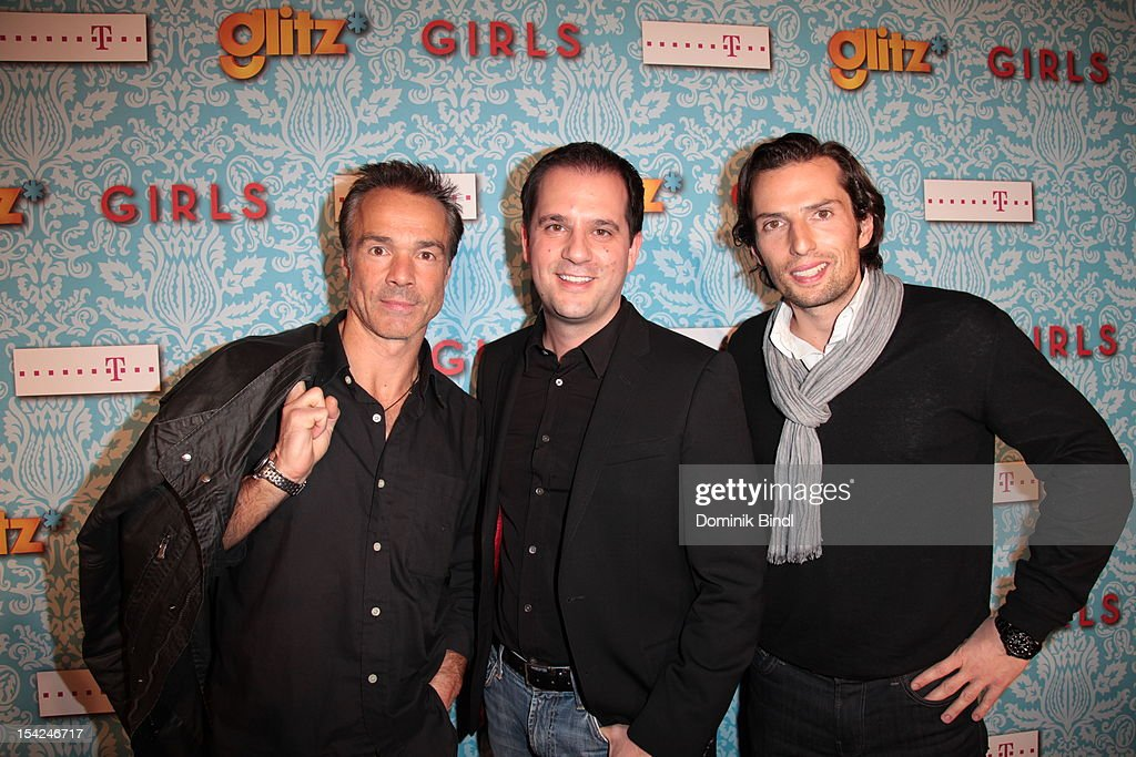 Hannes Jaenicke, Managing Director Hannes Heyelmann and Quirin Berg attend 'Girls' preview event of TV channel glitz* at Hotel Bayerischer Hof on October 16, 2012 in Munich, Germany. The series premieres on October 17, 2012 (every Wednesday at 9:10 pm on glitz*).