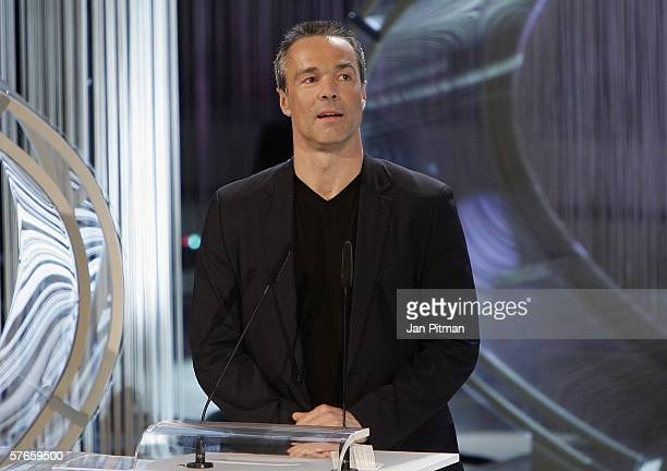 Hannes Jaennicke speaks during the Bavarian TV Prize 'Blue Panther' ceremony on May 19 2006 in Munich Germany