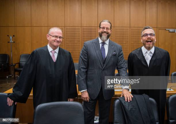 Hannes Linke Robert Kain and Thomas Koblenzer lawyers of defendant Daniel M arrive for the opening of a trial against Daniel M at court in Frankfurt...