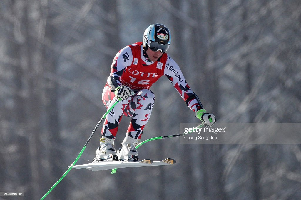 Hannes Reichelt Austria competes in the Men's Super G Finals during the 2016 Audi FIS Ski World Cup at the Jeongseon Alpine Centre on February 7, 2016 in Jeongseon-gun, South Korea.