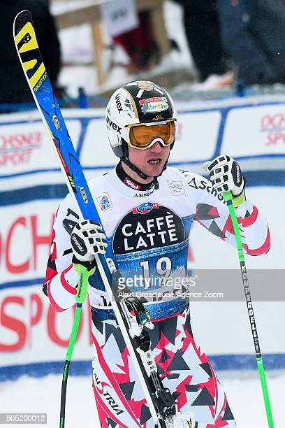 Hannes Reichelt of Austria celebrates during the Audi FIS Alpine Ski World Cup Men's Downhill on January 16 2016 in Wengen Switzerland