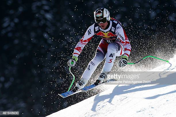 Hannes Reichelt of Austria competes during the Audi FIS Alpine Ski World Cup Men's Downhill Training on January 22 2015 in Kitzbuehel Austria