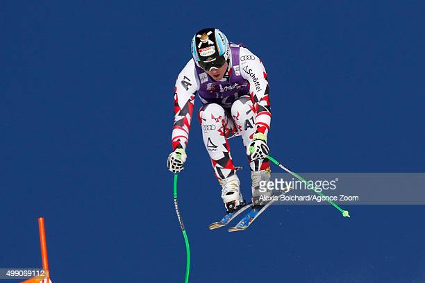 Hannes Reichelt of Austria competes during the Audi FIS Alpine Ski World Cup Men's Downhill on November 28 2015 in Lake Louise Canada