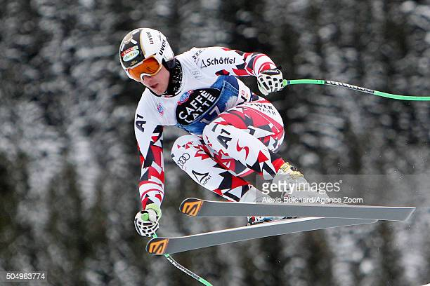 Hannes Reichelt of Austria competes during the Audi FIS Alpine Ski World Cup Men's Downhill Training on January 14 2016 in Wengen Switzerland