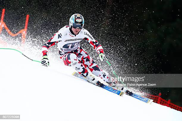Hannes Reichelt of Austria competes during the Audi FIS Alpine Ski World Cup Men's Downhill Training on January 28 2016 in GarmischPartenkirchen...
