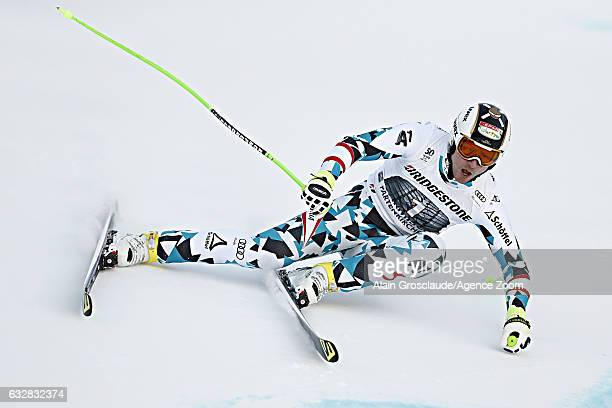 Hannes Reichelt of Austria competes during the Audi FIS Alpine Ski World Cup Men's Downhill on January 27 2017 in GarmischPartenkirchen Germany