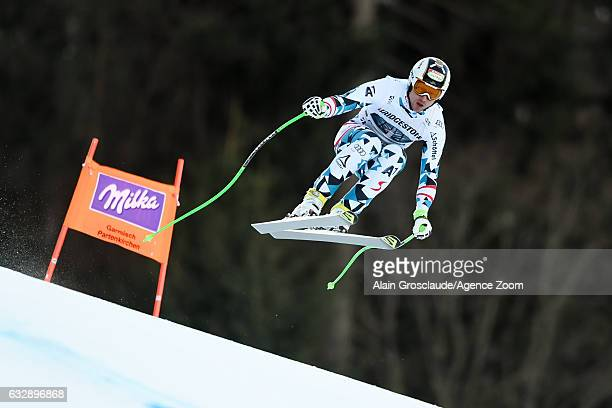Hannes Reichelt of Austria competes during the Audi FIS Alpine Ski World Cup Men's Downhill on January 28 2017 in GarmischPartenkirchen Germany