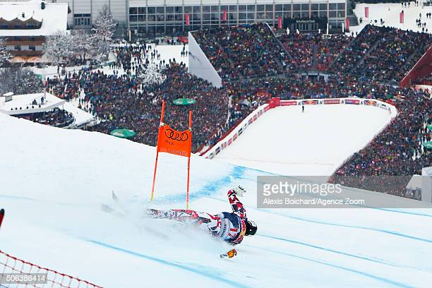 Hannes Reichelt of Austria crashes out during the Audi FIS Alpine Ski World Cup Men's Downhill on January 23 2016 in Kitzbuehel Austria