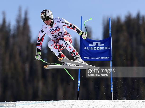Hannes Reichelt of Austria gets airborne en route to winning the 2015 World Alpine Ski Championships men's Super G February 5 2015 in Beaver Creek...