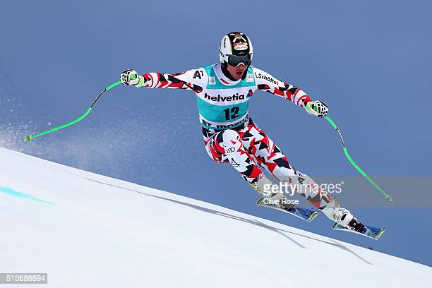 Hannes Reichelt of Austria in action during the Audi FIS Alpine Skiing World Cup downhill training on March 15 2016 in St Moritz Switzerland