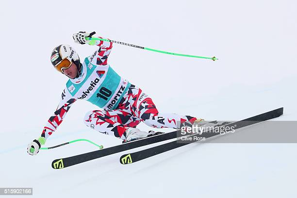Hannes Reichelt of Austria in action during the Audi FIS Alpine Skiing World Cup Men's Downhill Race on March 16 2016 in St Moritz Switzerland