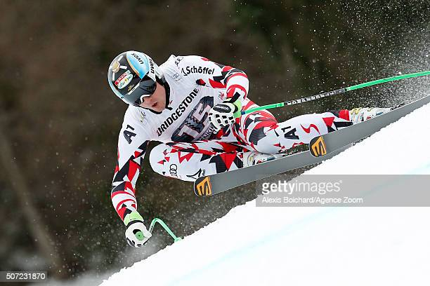 Hannes Reichelt of Austria in action during the Audi FIS Alpine Ski World Cup Men's Downhill Training on January 28 2016 in GarmischPartenkirchen...